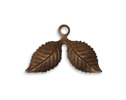 Vintaj Natural Brass Cherry Leaf 17x26mm