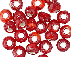 Czech Glass Pomegranate Large Hole Fire Polished Rondelle 6x9mm