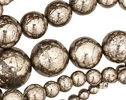 Golden Pyrite (silver tone) Round Graduated 4-18mm