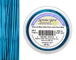 Artistic Wire Silver Plated Peacock Blue 20 gauge, 25 feet