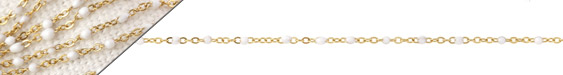Gold (plated) Stainless Steel White Tiny Cable Chain