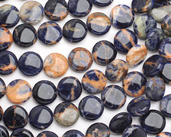 Orange Sodalite Puff Coin 15mm