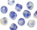 African Recycled Glass Blue Sky Tumbled Round 10-14mm