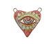Gaea Ceramic Eye Love You 2-Loop Heart Pendant 33x37-38mm
