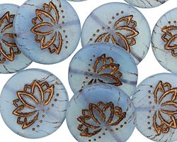 Czech Glass Matte Bronzed Alice Blue Lotus Coin 18mm