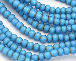 African Trade Beads Turquoise White Heart Glass 5-6x7-8mm