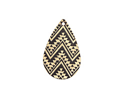Moroccan Etched & Printed Gold Finish Teardrop Focal 18x27mm