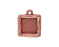 TierraCast Antique Copper (plated) Simple Square Frame Drop 18x21mm