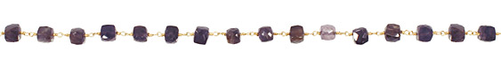 Iolite Faceted Cube Gold (plated) Bead Chain