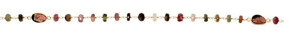 Tourmaline Faceted Rondelle w/ Freeform Gold (plated) Bead Chain
