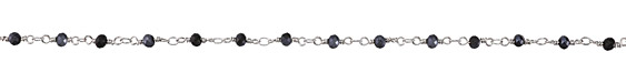 Zola Elements Matte Jet w/ Hematite Luster Crystal 4mm Imitation Rhodium (plated) Bead Chain