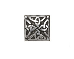 Antique Silver (plated) Trinity Celtic Knot Square 10mm Flat Cord Slide 17mm