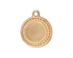 TierraCast Antique Gold (plated) Beaded Round Frame Drop 20x23mm