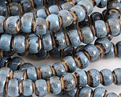 Black & Blue w/ Speckles Banded Porcelain Tumbled Rondelle 7x10mm