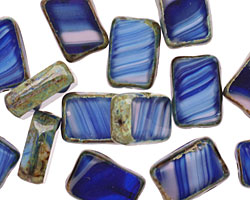 Czech Glass Psychedelic Rectangle 12x8mm