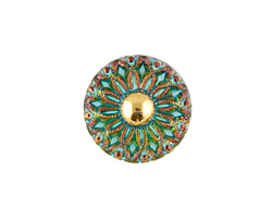 Czech Glass Azure Peacock w/ Gold Daisy Button 18mm