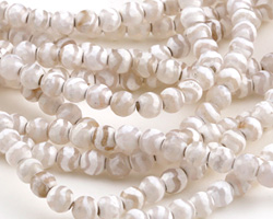 Tibetan (Dzi) Agate White & Natural Wave Faceted Round 6mm
