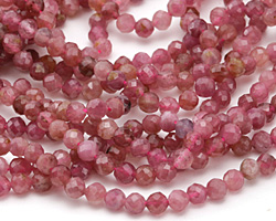 Pink Tourmaline Faceted Round 4mm