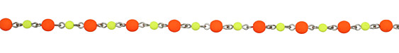 Czech Glass Candy Corn Round Silver (plated) Bead Chain