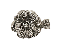 Green Girl Pewter Bee & Flower Clasp 23x30mm