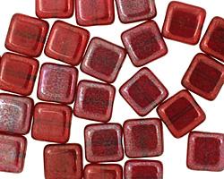 Czech Glass Siam Ruby Vega Square 9mm
