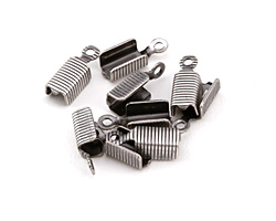 Antique Silver (plated) Textured Fold Over Cord End 13x5mm