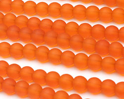 Tangerine Recycled Glass Round 6mm