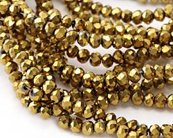 Antique Gold Crystal Faceted Rondelle 3mm