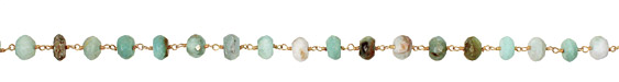 Peruvian Opal Faceted Rondelle Gold (plated) Bead Chain