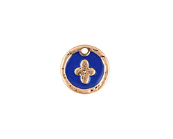 Zola Elements Cobalt Enamel Matte Gold Finish Cross Coin Focal 13mm