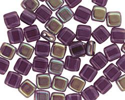 CzechMates Glass Tanzanite Celsian 2-Hole Tile 6mm