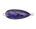 Lapis Faceted Teardrop Link in Sterling Silver 38-40x11-13mm