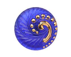 Czech Glass Cobalt & Gold Lunar Spiral Button 27mm