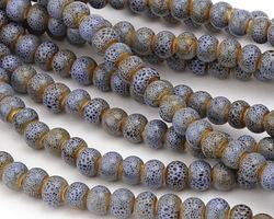 Starflower w/ Speckles Porcelain Tumbled Rondelle 5x7mm