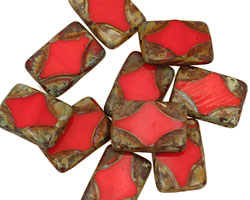 Czech Glass Pink Silk Picasso Table Cut Rectangle 15x11mm