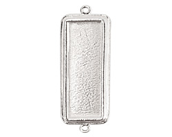 Nunn Design Sterling Silver (plated) Traditional Rectangle Bezel Pendant Link 48x18mm
