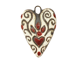 Earthenwood Studio Ceramic Everlasting Heartfire Pendant 20-21x29mm