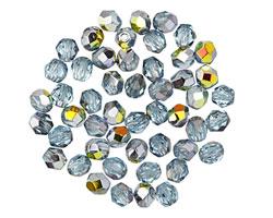 Czech Fire Polished Glass Aquamarine/Marea Round 4mm
