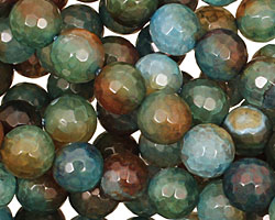 Green/Brown Fire Agate Faceted Round 8mm