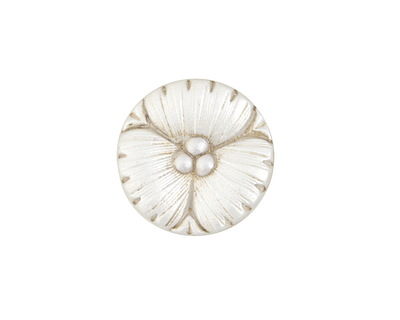 Czech Glass White Pearl w/ Antique Gold Wildflower Button 18mm