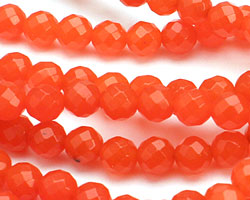 Neon Orange Colorful Jade Faceted Round 6mm