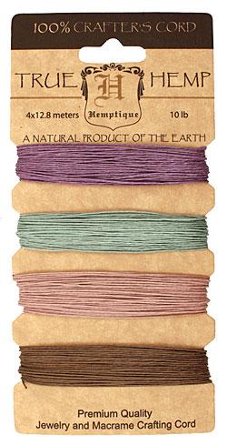 Vintage Hemp Twine 10 lb, 42 ft x 4 colors
