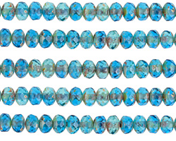 Czech Glass Aquamarine Picasso Fire Polished Rondelle 3x5mm