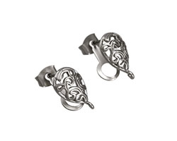 Satin Rhodium (plated) Filigree Teardrop Ear Post w/ Loop & Back 14mm