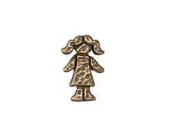 Patricia Healey Bronze Girl in Pigtails 10mm Flat Slide 12x17mm