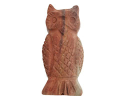 Red Bend Jasper (matte) Carved Owl 13-15x28-33mm