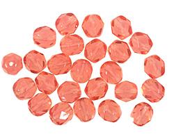 Czech Fire Polished Glass Milky Pink Round 6mm