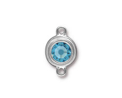 TierraCast Rhodium (plated) Stepped Bezel Link w/ Aquamarine Crystal 12x17mm