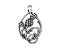 Antique Silver Finish Thistle Pendant 18x29mm