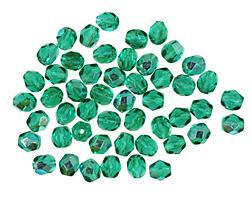Czech Fire Polished Glass Emerald AB Round 4mm